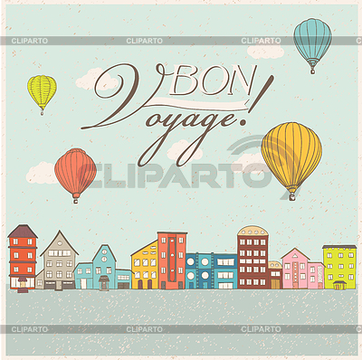 Hot air balloons flying over retro houses. Old | Stock Vector Graphics |ID 5617102