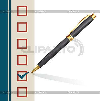 Tła ze znakiem podejmowania długopis w pudełku | Klipart wektorowy |ID 5617158