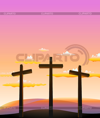 Three crosses on Calvary abstract background.   Stock Vector Graphics  ID 5665293
