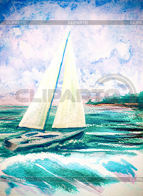 Hand painted watercolor with sea waves and sailboat | High resolution stock illustration |ID 5778283