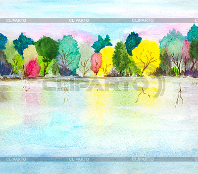 Hand painted watercolor background with lake, autum | High resolution stock illustration |ID 5778289