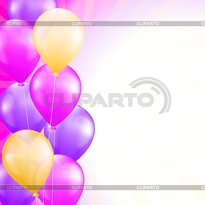 背景明亮的粉红色和黄色气球   向量插图  ID 5831378