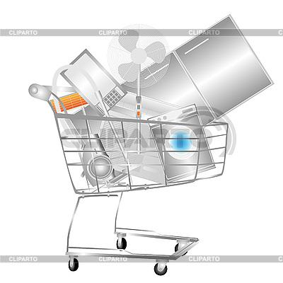 Elektrische Haushaltsgeräte im Einkaufswagen | Illustration mit hoher Auflösung |ID 3058961