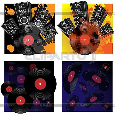 Speakers and vinyl disks | High resolution stock illustration |ID 3071942