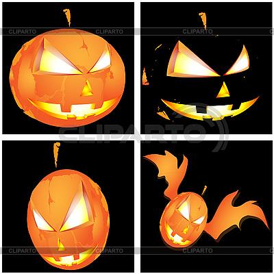 Четыре тыквы на Хэллоуин | Векторный клипарт |ID 3071944