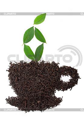 Stilisierte Tasse aus Teeblättern | Foto mit hoher Auflösung |ID 3040335