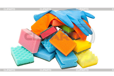 Gummihandschuhe und Küchenschwämme | Foto mit hoher Auflösung |ID 3044433