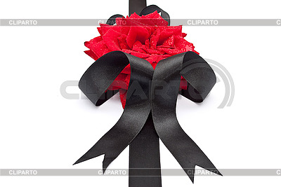 Red rose with black ribbon | High resolution stock photo |ID 3044503