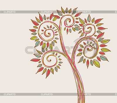 Stilisierter Baum mit farbigen Blättern   Stock Vektorgrafik  ID 3051729
