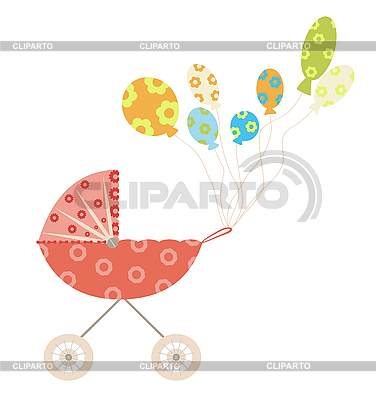 Baby carriage and air balloons   Stock Vector Graphics  ID 3051733