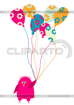 Lustiger kleiner Vogel mit Luftballons | Stock Vektorgrafik |ID 3051753