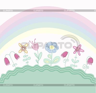 무지개와 아이 꽃 무늬 디자인 | 벡터 클립 아트 |ID 3051778