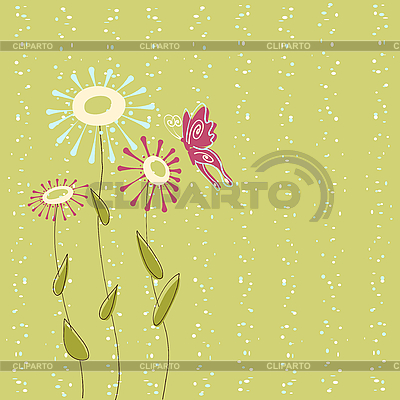 Floral card with butterfly | Stock Vector Graphics |ID 3051812