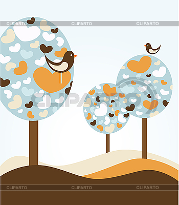 Trees with hearts and birds | Stock Vector Graphics |ID 3051850
