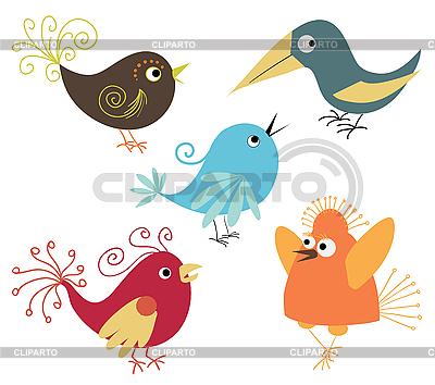 Zestaw cute ptaków | Klipart wektorowy |ID 3051876