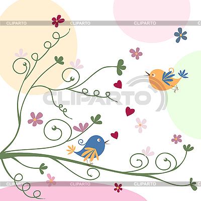 Grusskarte mit Vögeln | Stock Vektorgrafik |ID 3058265