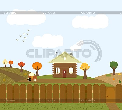 Autumn rural landscape   Stock Vector Graphics  ID 3069575
