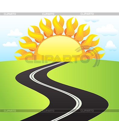 Droga w słoneczny dzień | Klipart wektorowy |ID 3069656