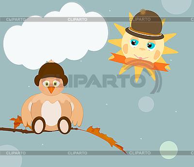 Cartoon sun and bird | Stock Vector Graphics |ID 3090718