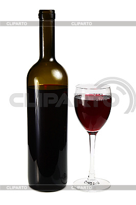 Bottle with red wine and glass | High resolution stock photo |ID 3041527