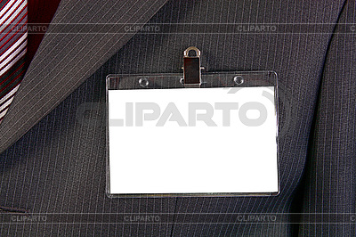 Empty ID card badge on suit | High resolution stock photo |ID 3041556