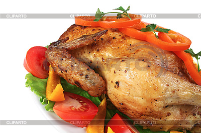 Fried hen with vegetables | High resolution stock photo |ID 3042407
