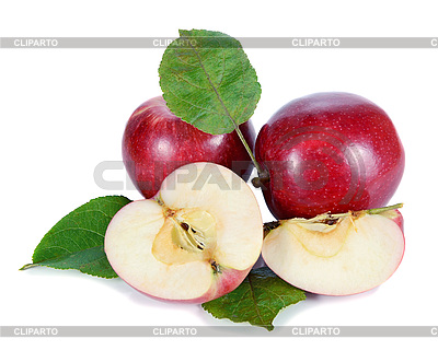 Red apples with green leaves | High resolution stock photo |ID 3042530