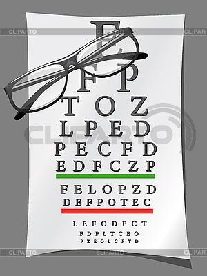Brille und Tafel mit Buchstaben | Stock Vektorgrafik |ID 3043943