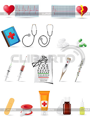 Ikona zestaw medyczny | Klipart wektorowy |ID 3044071