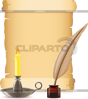 Old paper, candle and feather with inks | Stock Vector Graphics |ID 3045117