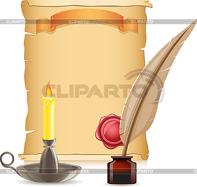 Old paper, candle and feather with inks   Stock Vector Graphics  ID 3045119