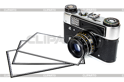 Old retro photo camera and blank photos | High resolution stock photo |ID 3132853