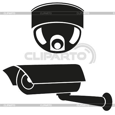 Schwarzweiße Icons von Überwachungskameras | Stock Vektorgrafik |ID 3304555