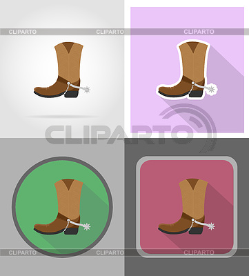 Cowboy boots wild west flat icons   Stock Vector Graphics  ID 5836414
