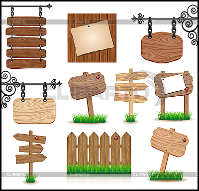 Set of wooden sigboards | Stock Vector Graphics |ID 3045213