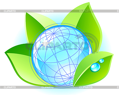 Ecology concept with globe and leaves | Stock Vector Graphics |ID 3045266