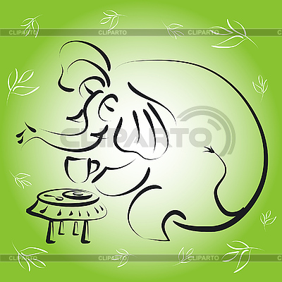 大象一杯茶 | 向量插图 |ID 3045268