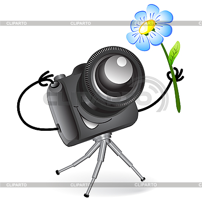 Cute camera with blue flower | Stock Vector Graphics |ID 3045769