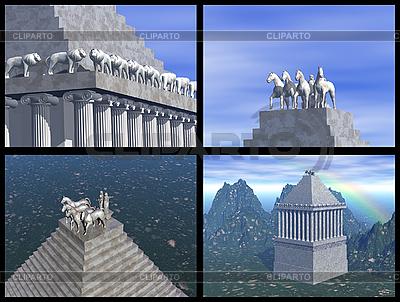 Mauzoleum Maussollos w Halikarnasie. Rekonstrukcje 3D | Stockowa ilustracja wysokiej rozdzielczości |ID 3045839