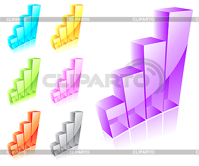Set of 3d glass graphs | Stock Vector Graphics |ID 3046089