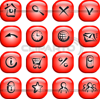 Set von roten Icons für Web-Applikationen | Stock Vektorgrafik |ID 3046394