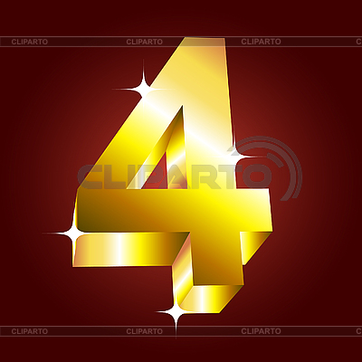 Golden number four   Stock Vector Graphics  ID 3053237