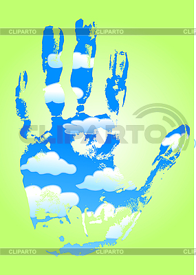 Ecology concept with hand of clouds | Stock Vector Graphics |ID 3058693