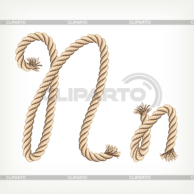 Seil-Buchstabe N   Stock Vektorgrafik  ID 3072824