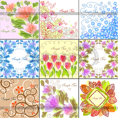 Set von 9 floralen Hintergründen | Stock Vektorgrafik |ID 3079297