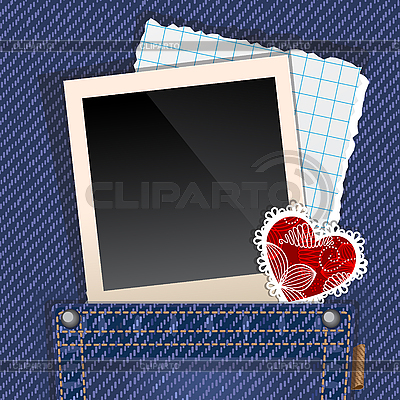 Jeans pocket with photo   Stock Vector Graphics  ID 3081640