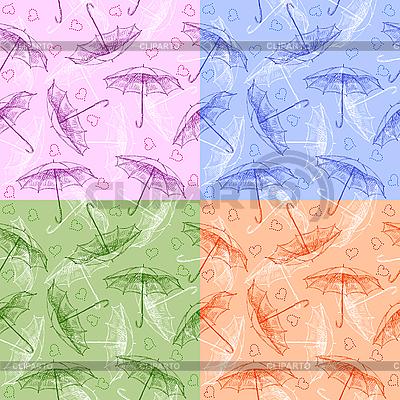 Zestaw bez szwu desenie z parasolami | Stockowa ilustracja wysokiej rozdzielczości |ID 3081661