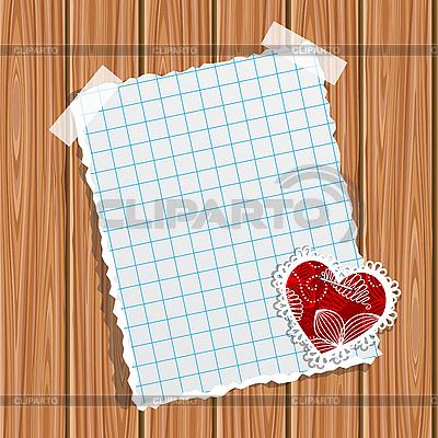 나무 벽에 종이와 작은 발렌타인 | 벡터 클립 아트 |ID 3081663