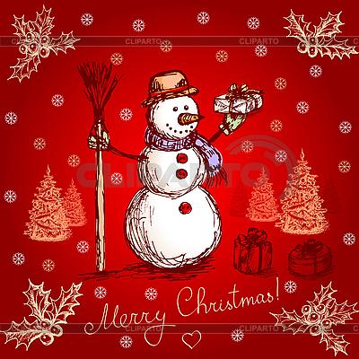 Czerwona kartka świąteczna z snowman | Klipart wektorowy |ID 3104476