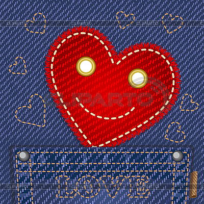 청바지 주머니에 귀여운 웃는 마음 | 벡터 클립 아트 |ID 3127824
